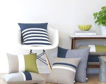 Mod Pillow Cover Set of 7: Mid Century Modern - Navy, Cream, Natural & Linden Green Linen by JillianReneDecor (Custom Colors) Retro