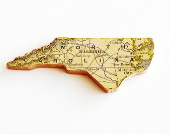 1907 North Carolina Brooch - Pin / Unique Wearable History Gift Idea / Upcycled Antique Wood Jewelry / Timeless Gift Under 50