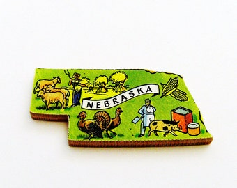 1960s Nebraska Brooch - Pin / Unique Wearable History Gift Idea / Upcycled Vintage Hand Cut Wood Jewelry / Timeless Gift Under 25