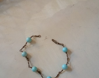 wired link and turquoise bracelet