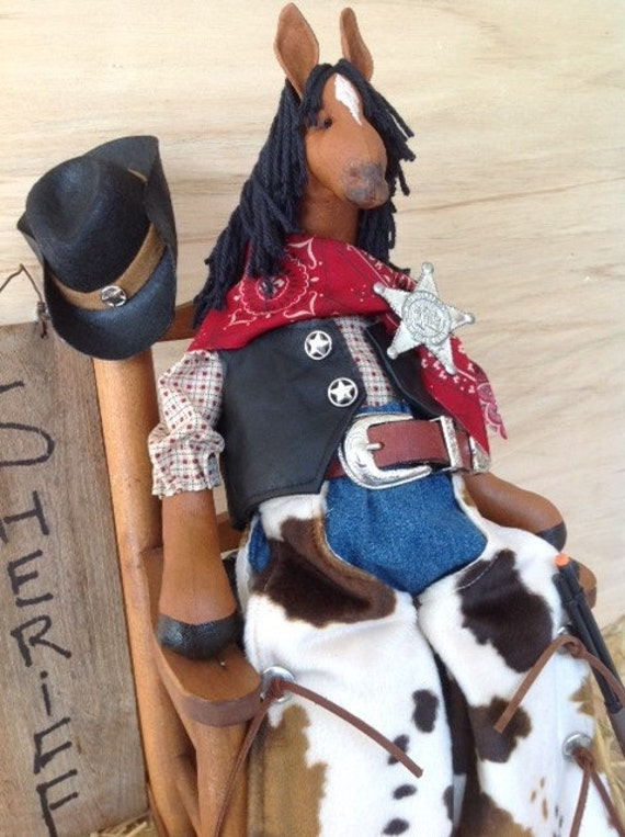 Cloth Doll E-Pattern Western Dressed Cowboy Horse epattern