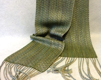 Handwoven Rayon Scarf - Woven Scarf -  Rayon Scarf - Olive Green Woven Scarf - Down to Nature Scarf