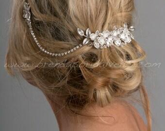Wedding Hair Swag, Rhinestone Flower Headpiece, Bridal Headpiece, Wedding Hair Jewelry - Kalie