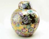 Vintage Chinese Millefiori Porcelain Ginger Jar Hand Painted Chrysanthemum Flowers on Gold
