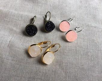 Rose Gold Druzy Earrings, Faux Druzy Earrings, Druzy Earrings, Rose Gold Earrings