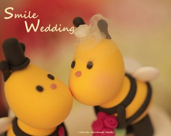 Kissing  Bees bride and groom wedding cake topper---k794