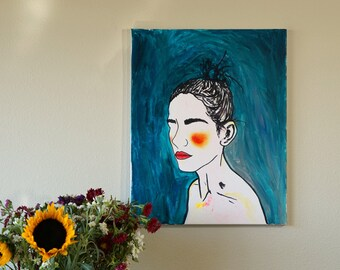 "Red Cheeks Abstract Portrait of Woman Silhouette Original Acrylic Painting on Canvas, Modern Artwork Blue Green Wall Art Indie Decor 16""x20"""