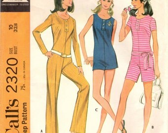 1970s McCall's 2320 Vintage Sewing Pattern Misses Long Jumpsuit, Short Jumpsuit Size 10 Bust 32-1/2