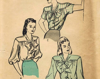 1940s Butterick 3854 Vintage Sewing Pattern Misses Blouse Size 14 Bust 32