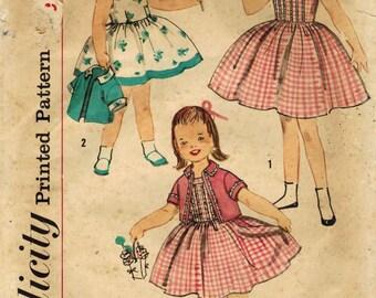 1950s Simplicity 2581 Vintage Sewing Pattern Girls Party Dress, Sundress, Bolero Cropped Jacket  Size 3