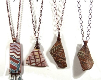 Shard Pendant Necklaces, Your Choice, One of a Kind Ceramic Stoneware  with Copper Components and Chain, Extension and Lobster Claw Closure