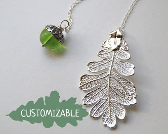 Silver Oak Leaf and Pearl Acorn Lariat | Electroformed Jewelry | Fall Acorn Charm | Real Silver Oak Leaf Pendant