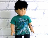 RESERVED for Someone Special, American Boy Doll Snake Tee Shirt, Upcycled Graphic Tee,