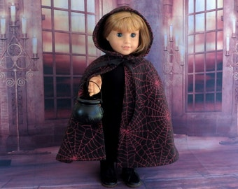 Halloween Doll Cape, Black Pink Spiderweb Fleece Cape, Handmade Doll Clothes, fits American Girl