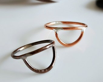 Copper Arch Ring, Half Moon Ring, Half Circle Stacking Ring, Shiny Copper, Dark Copper Patina, Geometric, 16 Gauge, Boho Knuckle Midi Ring