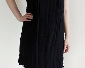 Vintage 50s Black 100% Silk Hand Beaded Union Made Party Dress