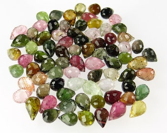 Set of 79 Stunning Faceted Watermelon Tourmaline Top-Drilled Pear or Teardrop Briolettes