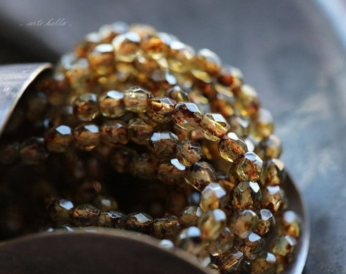 sale .. HONEY AMBER BITS .. 50 Picasso Czech Glass Rondelle Beads 2x3mm (4225-st)