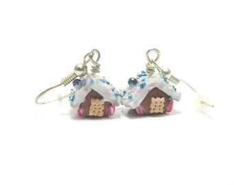 Gingerbreadhouse Earrings, Miniature Food Jewelry, Polymer Clay Food Jewelry