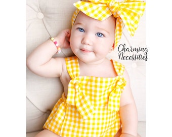 Baby Girl Clothes, Toddler Girl Clothes, Sunsuit Bubble Romper Spring Summer Summer Picnic by Charming Necessities - 5 Gingham Colors