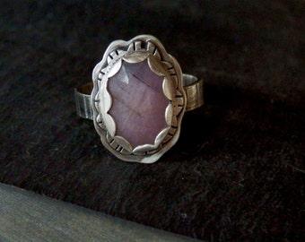 Pink sapphire ring / rose cut sapphire ring / statement ring / September birthstone / sapphire jewelry / natural sapphire / boho sapphire
