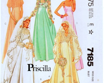 Vintage McCalls 7185 Priscilla Misses Brides' and Bridesmaids' Dress Sewing Pattern Size 12 Bust 34