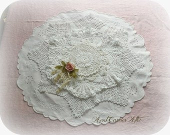 "White Doilies Wedding Centerpiece Doily Table Runner Doily Decor 24"" Diameter Barn Wedding Decor Shabby Table Linens Cottage Chic Deocr"