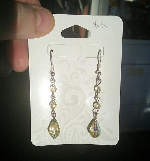 Green Crystal Teardrop Dangle Earrings
