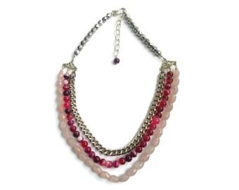 Aphrodite – Pink Statement Necklace - Beaded Gemstone 3-Strand Collar - Rose Quartz/Agate/Chain – Mishimon Designs