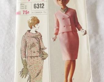 1960s Vintage Suit Pattern 31 Inch Bust Simplicity 6312 XXS