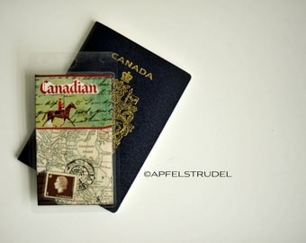 Custom Luggage Tag Handmade from Vintage Maps, Mountie, RCMP, Canadian, Unique Recycled Gift, His or Hers, Travel Accessory,