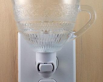 Clear Glass Diamond & Floral Pattern Custom Made Tea Cup  Night Light
