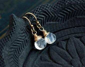 Rainbow Moonstone Earrings, Moonstone Earrings, Drop Earrings, Wire Wrapped, Gold Earrings, Dangle Earrings, Rainbow Moonstone, PoleStar