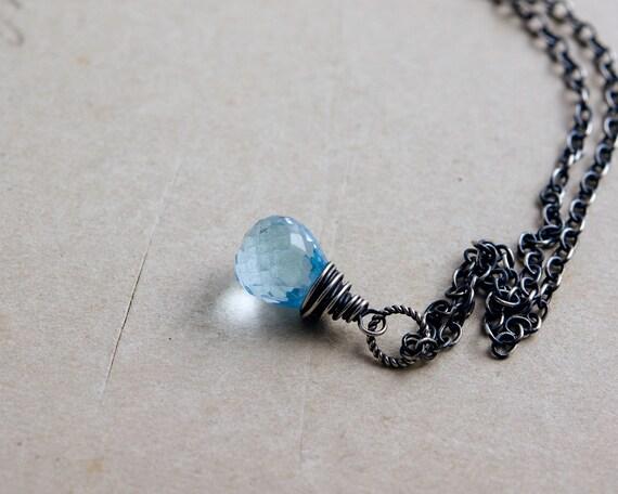 Gemstone Necklace, Blue Topaz Necklace, Blue Topaz, Sterling Silver, Antiqued, Topaz Pendant, December Birthstone, Perfect Gift