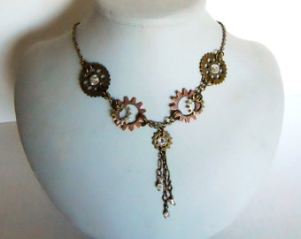 Steampunk Bride Airship Captian necklace Cogs Gears and crystal Necklace in gunmetal and brass tones perfect for a lovely steampunk bride