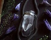 Quartz Necklace - Clear Quartz Pendant with Long Silver Chain - Magical Necklace - Clear Crystal Amulet - Artemis