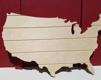 Wooden United States of America, USA, Map.  Unfinished