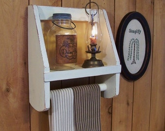 Primitive Towel Shelf Bathroom Storage by Sawdusty Colonial Farmhouse Style / Butter Milk Tan Color Choice
