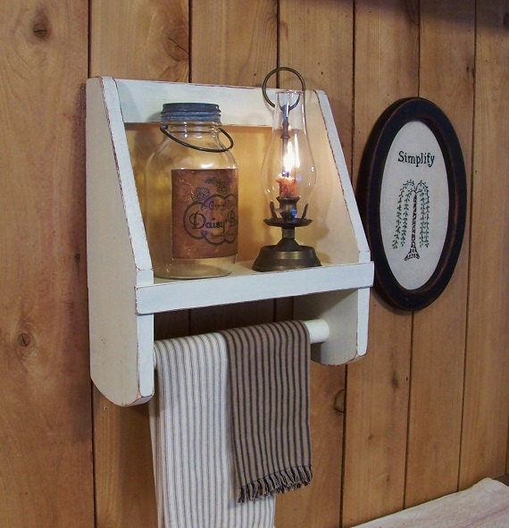 Primitive Towel Shelf Bathroom Storage by Sawdusty Colonial Farmhouse Style / Butter Milk Tan Color Choice