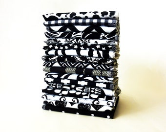 10 Black and White Cloth Napkins - Mixed Modern Reusable Paper Towels - Adult Casual Napkins - Unpaper Towel - Everyday Napkins - 10 x 12 cb