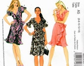 UNCUT McCall's Pattern M6024 - Laura Ashley - Misses Wrapped, A-Line Dresses with or without Flounce and Flutter Sleeves - 6-14