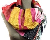 Jenny | Handwoven Modern Women's Fashion | Apple, Raspberry & Saffron Textile Scarf | Woven Gifts for Her | Colorful Striped Accessories