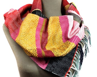 Jenny | Handwoven Modern Womens Fashion | Apple, Raspberry & Saffron Textile Scarf | Woven Gifts for Her | Colorful Striped Accessories