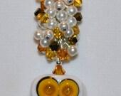 Lampwork Beaded Owl Swarovski Necklace