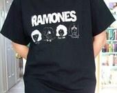 Ramones T-Shirt Orignal Design Featuring Caricatures, Unisex Adult Size M or L Black Distressed