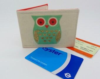 Oyster card holder, bus pass holder, travel card holder, wallet. Owl print wallet . Card wallet, Oyster card wallet, credit card holder