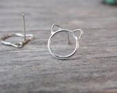 Cat Earrings Sterling Silver