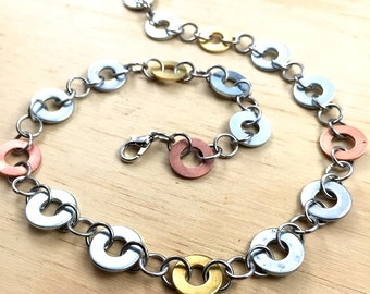 Mixed Metal Necklace Hardware Jewelry