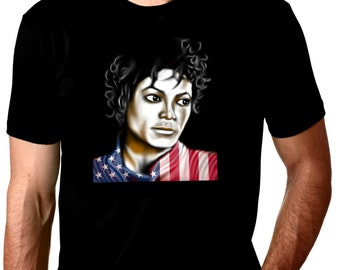 AMERICAN - MICHAEL JACKSON original art print on black cotton shirt