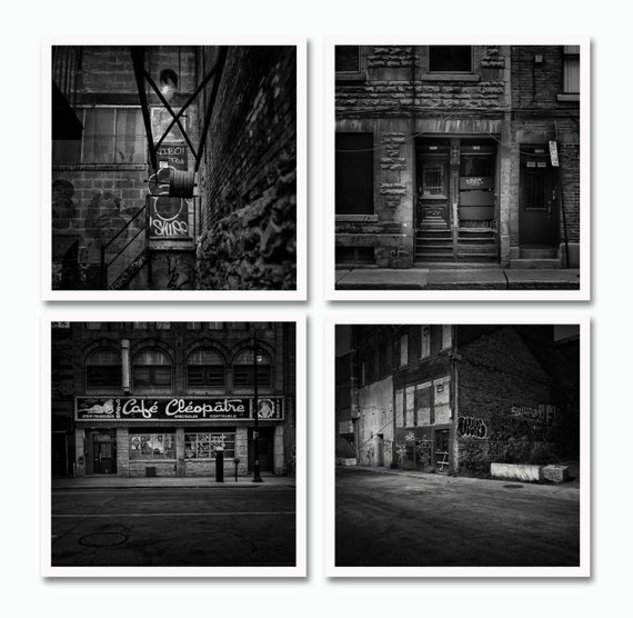 Montreal Red Light district collection, Black and White photography (Photo Magnet) set of 4
